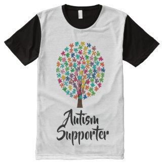 白黒自閉症サポータTシャツ オールオーバープリントT シャツ