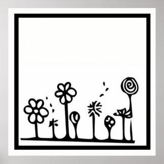 白黒花のスケッチポスター ポスター
