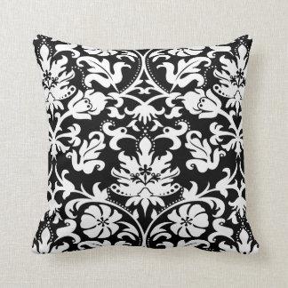 白黒花のダマスク織 クッション