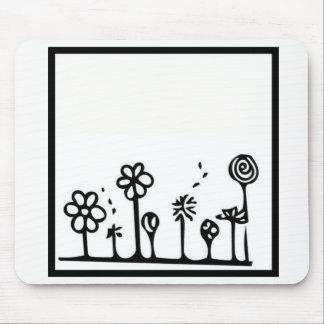 白黒花のマウスパッド マウスパッド