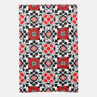 白黒花のモロッコのタイル、深紅 キッチンタオル