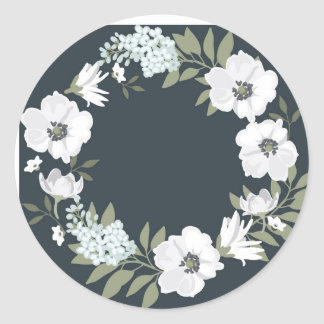 白黒花のリース ラウンドシール