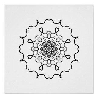 白黒花の万華鏡のように千変万化するパターンの曼荼羅のドングリ ポスター