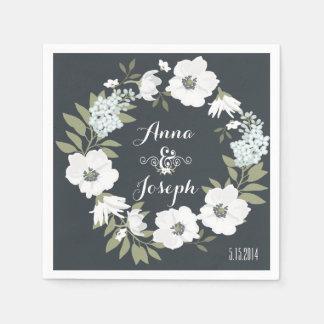 白黒花の結婚式のナプキン スタンダードカクテルナプキン