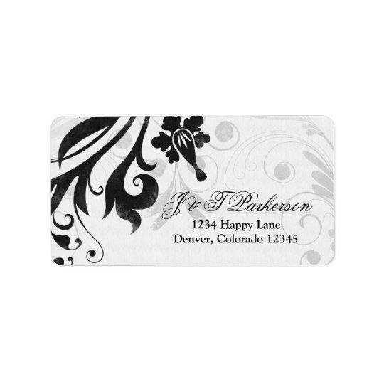 白黒花の結婚式の宛名ラベル ラベル