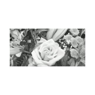白黒花の花束 キャンバスプリント