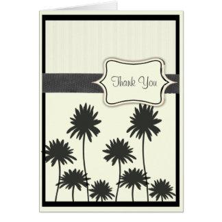 白黒花及びヤシの木の誕生日 カード