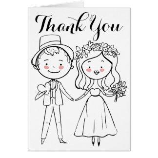 白黒花嫁及び新郎の結婚式ありがとう カード