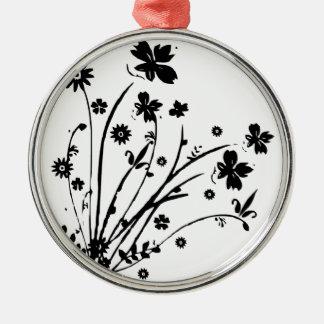 白黒花柄の破烈 メタルオーナメント