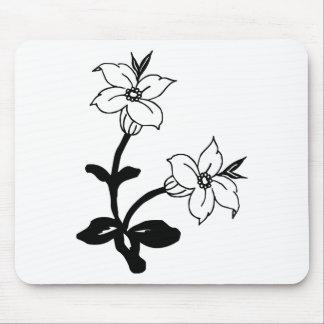 白黒花 マウスパッド