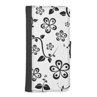 白黒花 iPhoneSE/5/5sウォレットケース
