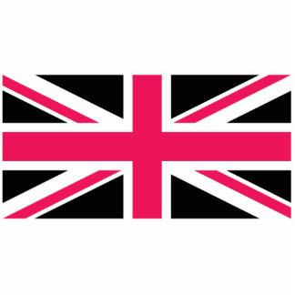 白黒英国国旗の~のショッキングピンク 写真彫刻キーホルダー