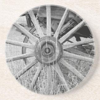 白黒荷馬車の車輪のコースター コースター