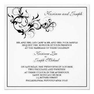 白黒華麗さの結婚式招待状 13.3 スクエアインビテーションカード