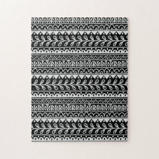 白黒落書きパターンの列 ジグソーパズル