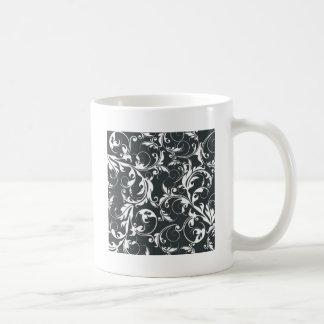 白黒葉パターン コーヒーマグカップ