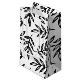 白黒葉パターン スモールペーパーバッグ
