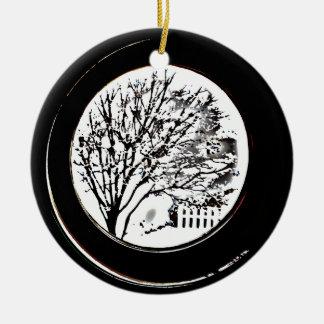 白黒蒸気口からの木- セラミックオーナメント