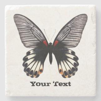 白黒蝶カスタムな石造りのコースター ストーンコースター