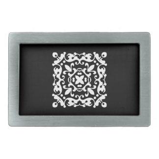 白黒装飾的なダマスク織のモチーフ 長方形ベルトバックル