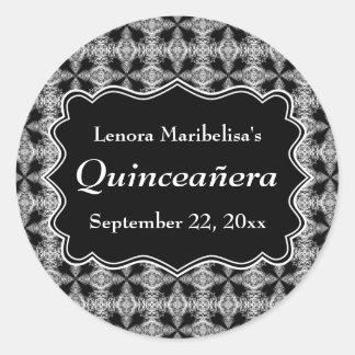 白黒装飾的なパターンキンセアニェラ ラウンドシール