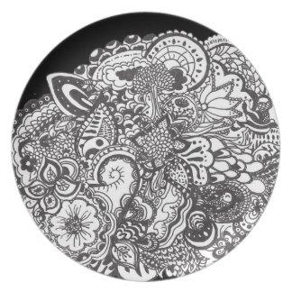 白黒詳しいペンとインクの芸術 プレート