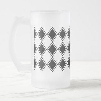 白黒道化師のダイヤモンドパターン フロストグラスビールジョッキ