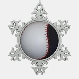 白黒野球/ソフトボール ピューター製スノーフレークオーナメント