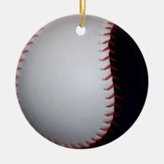 白黒野球/ソフトボール 陶器製丸型オーナメント