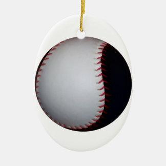 白黒野球/ソフトボール 陶器製卵型オーナメント