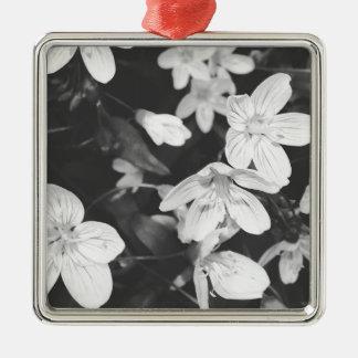 白黒野生の花 メタルオーナメント