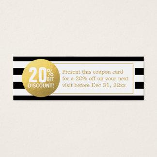 白黒金ゴールドの美容院の割引クーポン スキニー名刺