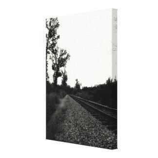 白黒鉄道線路 キャンバスプリント