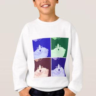 白黒長い髪猫 スウェットシャツ