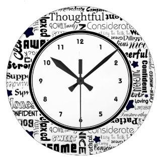 白黒陽性はタイポグラフィの時計を言い表わします ラージ壁時計