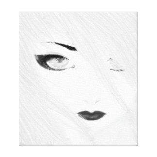 白黒雪の芸者 キャンバスプリント