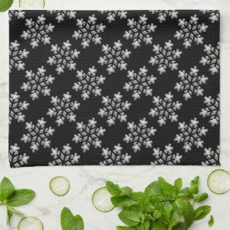 白黒雪片のクリスマスの休日のクリスマス キッチンタオル
