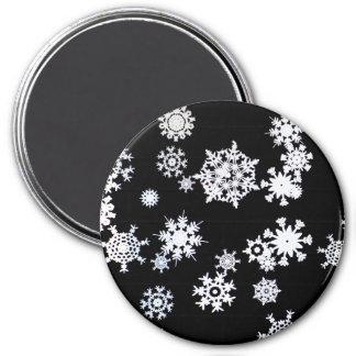 白黒雪片の冬のプリント マグネット