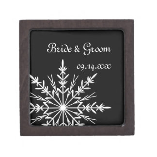 白黒雪片の冬の結婚式 ギフトボックス