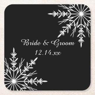 白黒雪片の冬の結婚式 スクエアペーパーコースター