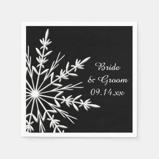 白黒雪片の冬の結婚式 スタンダードカクテルナプキン