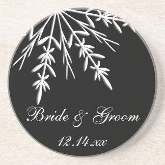 白黒雪片の冬の結婚式 ドリンクコースター