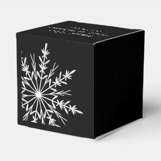 白黒雪片の冬の結婚式 フェイバーボックス
