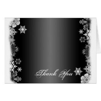 白黒雪片の結婚式のサンキューカード カード