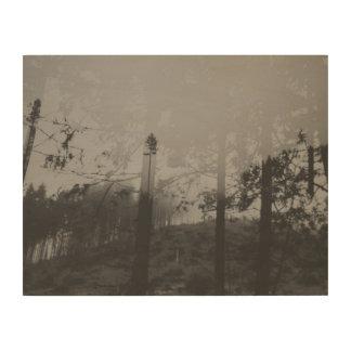 白黒霧深い森林II木壁の芸術 ウッドウォールアート
