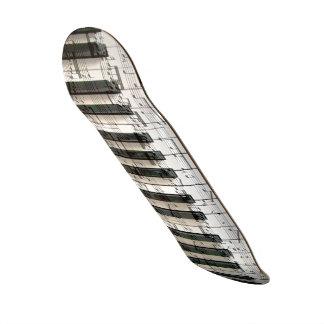 白黒音楽ピアノキーボード スケートボード