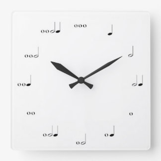 白黒音符の柱時計 スクエア壁時計