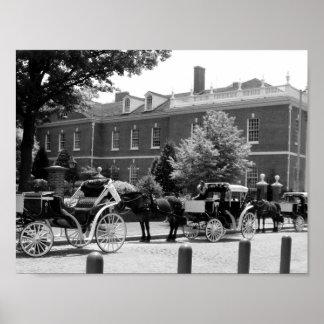 白黒馬およびキャリッジ写真 ポスター