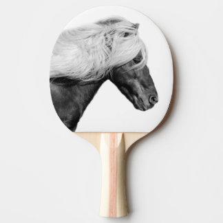 白黒馬の乗馬動物の写真 卓球ラケット