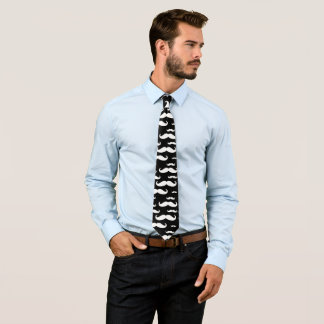白黒髭パターン ネクタイ